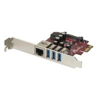 Lindy USB 3.1 / Gigabit LAN Card 4 Port, PCIe