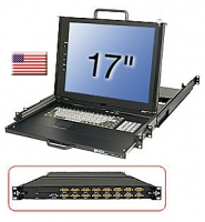 "Lindy 19"" KVM Terminal with 17"" LCD and Integrated 16 Port Modular KVM Switch, US layout"
