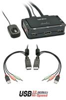 Lindy Compact 2 Port KVM Switch - DisplayPort, USB 2.0 & Audio