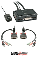 Lindy 2 Port KVM Switch - DVI-D & USB 2,0 Audio
