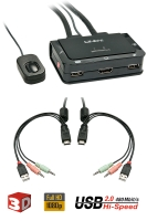 Lindy Compact 2 Port KVM Switch - HDMI, USB 2.0 & Audio