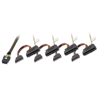 Lindy Mini SAS to 4 x SAS & SATA Power Cable, 1m