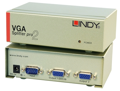 Lindy 2 Port VGA Splitter Pro, 450MHz