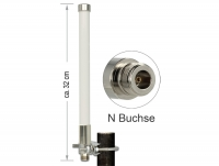 Delock LoRa 868 MHz Antenna N jack 3 dBi 32 cm omnidirectional fixed pole mount white outdoor