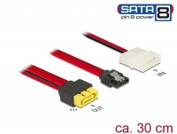 Delock Cable SATA 6 Gb/s 7 pin receptacle + Molex 2 pin power plug > SATA plug pin 8 power with latchtype 30 cm
