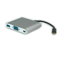 ROLINE Type C - VGA Adapter, M/F, 1x USB3.0 A F, 1x PD (Power Delivery)