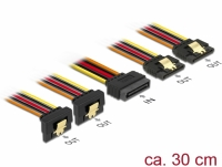 Delock Cable SATA 15 pin power plug with latching function > SATA 15 pin power receptacle 2 x straight / 2 x down 30 cm