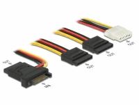 Delock Kabel Power SATA 15pin St > 3 x SATA 15pin Bu + 1 x 4P Molex Bu mit PCB