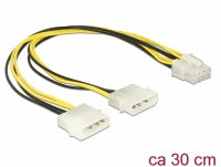 Delock Power cable 2 x 4 pin Molex male > 8 pin EPS male 30 cm