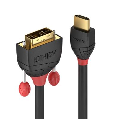 Lindy 1m HDMI to DVI-D Cable, Black Line