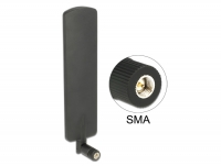 Delock LTE Antenna SMA plug 2 dBi omnidirectional with tilt joint black