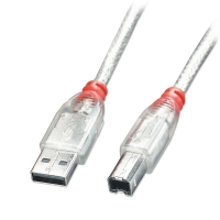 Lindy 1m USB Cable - Transparent, Type A to B, USB 2.0