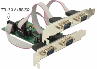 Delock PCI Express Card with 3 Serial RS-232 + 1 TTL 3.3 V / RS-232 with voltage supply