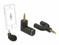 Delock Condenser Microphone Uni-Directional for Smartphone / Tablet 3.5 mm 4 Pin Stereo Jack 90° angleable black