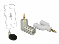 Delock Condenser Microphone Uni-Directional for Smartphone / Tablet 3.5 mm 4 Pin Stereo Jack 90° angleable silver