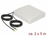 Delock LTE MIMO Antenna 2 x SMA Plug 8 dBi directional with connection cable RG-58 5 m white outdoor