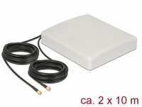 Delock LTE MIMO Antenna 2 x SMA Plug 8 dBi directional with connection cable RG-58 10 m white outdoor