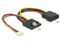 Delock Cable Power SATA 15 pin receptacle > Molex 4 pin male + 4 pin power female