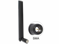 Delock LoRa 868 MHz Antenna SMA plug 3 dBi omnidirectional with tilt joint black