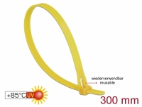 Delock Cable ties reusable heat-resistant L 300 x W 7.6 mm 100 pieces yellow