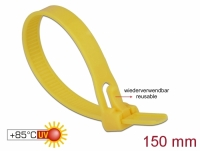 Delock Cable ties reusable heat-resistant L 150 x W 7.5 mm 100 pieces yellow