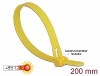 Delock Cable ties reusable heat-resistant L 200 x W 7.5 mm 100 pieces yellow