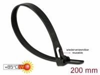Delock Cable ties reusable heat-resistant L 200 x W 7.5 mm 100 pieces black