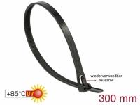 Delock Cable ties reusable heat-resistant L 300 x W 7.6 mm 100 pieces black
