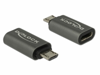 Delock Adapter USB 2.0 Micro-B male to USB Type-C™ 2.0 female anthracite