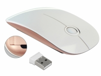 Delock Optical 3-button mouse 2.4 GHz wireless white / pink