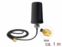 Delock GSM / UMTS Antenna SMA plug 0.7 - 1.6 dBi ULA100 1 m omnidirectional fixed outdoor black