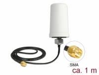 Delock LTE Antenna SMA plug 1.7 - 2.0 dBi ULA100 1 m omnidirectional fixed outdoor white