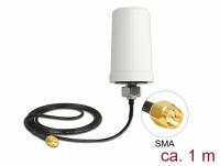 Delock LTE Antenna SMA plug 1.7 - 2.0 dBi ULA100 1 m omnidirectional fixed outdoor white