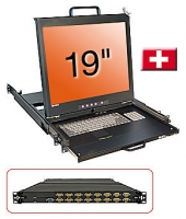"Lindy 19"" KVM Terminal with 19"" LCD and Integrated 16 Port Modular KVM Switch, CH layout"