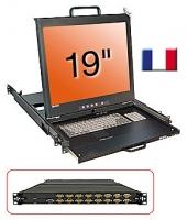 "Lindy 19"" KVM Terminal with 19"" LCD and Integrated 16 Port Modular KVM Switch, FR layout"