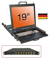 "Lindy 19"" KVM Terminal with 19"" LCD and Integrated 16 Port Modular KVM Switch, DE layout"