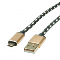 ROLINE GOLD USB 2.0 Cable, A - Micro B (reversible), M/M, 0.8 m