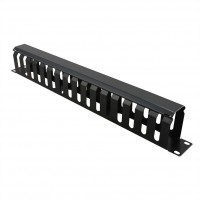 "Value 19"" Front Panel 1U with Patch channel 40 x 60 mm, RAL 9005 black"