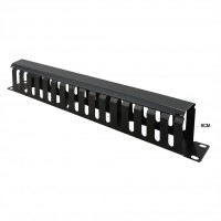 "Value 19"" Front Panel 1U with Patch channel 40 x 80 mm, RAL 9005 black"
