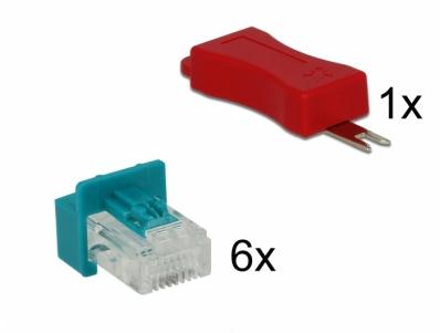 Delock RJ45 Secure Clip with plug set 6 pieces