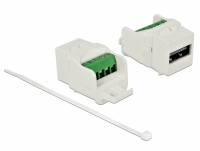 Delock Keystone module USB 2.0 A female to terminal block white