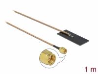 Delock WLAN 802.11 ac/ax/a/h/b/g/n Antenna SMA plug 0.5 - 1.2 dBi RG-178 1 m PCB internal self adhesive