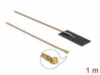 Delock WLAN 802.11 ac/ax/a/h/b/g/n Antenna MHF® I plug 0.5 - 1.2 dBi RG-178 1 m PCB internal self adhesive