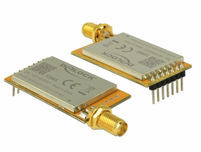 Delock IoT LoRa Radio Module 868 MHz 30 dBm TTL (3.3 V) pin header male to SMA jack