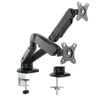 VALUE Dual LCD Monitor Stand Pneumatic, Desk Clamp, Pivot, black, 2 Joints
