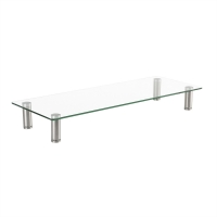 Roline LCD Monitor Stand, Tempered Glass Surface Risers (Square) with adjustable metal
