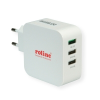 ROLINE USB Wall Charger, 3 Ports (1x QC3.0 + 2x 5V/2.4A), 36W