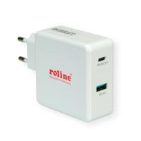 ROLINE USB Wall Charger Euro Plug, 2 Ports, 1x QC3.0 + 1x C (PD), 49.5W