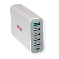 ROLINE USB Charger, 6 Ports (4x USB A, 1x USB C, 1x USB A QC3.0), max. 60W