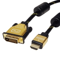 ROLINE GOLD Monitor Cable, DVI (24+1) - HDMI, Dual Link, M/M, 1.0 m
